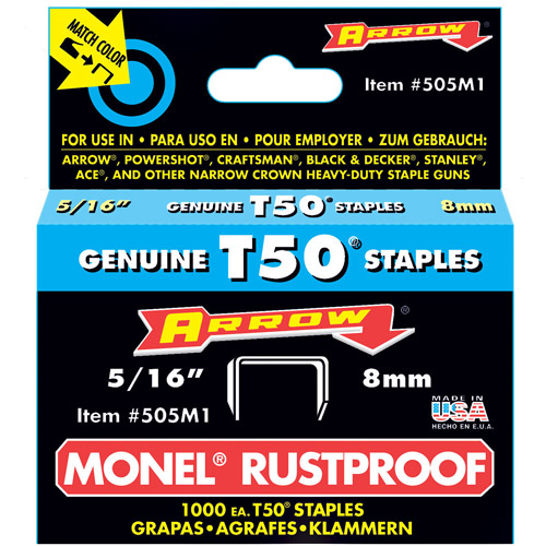 "Arrow Fastener Co. 505M1 5/16"" T50 Monel Staples"