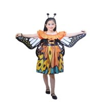 Girls Little Orange Butterfly Halloween Costume Dress Wings Headband