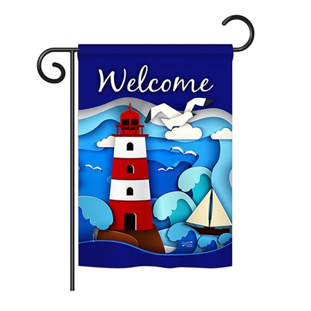 Angeleno Heritage G135077-BO Welcome Red Lighthouse Coastal Nautical Impressions Decorative Vertical 13