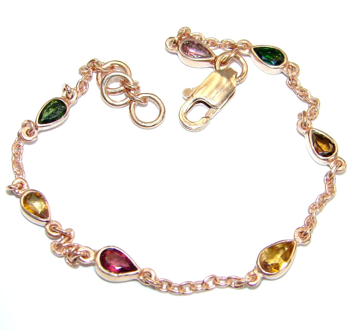 Genuine Tourmaline Rose Gold over .925 Sterling Silver handmade Bracelet by SilverRush Style by Tourmaline Bracelets