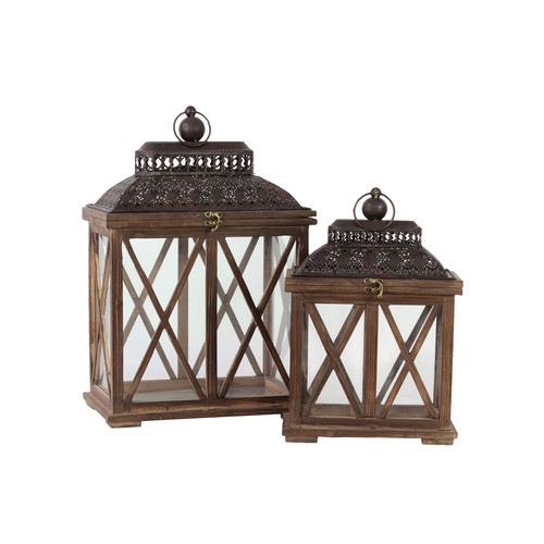 Urban Trends 2 Piece Wood and Glass Lantern Set