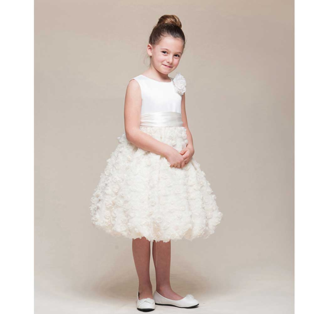 Crayon Kids Ivory Floral Bubble Flower Girl Easter Dress ...