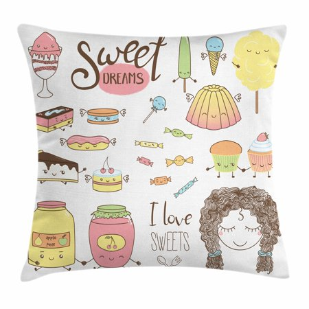 Sweet Dreams Throw Pillow Cushion Cover, Teen Girl Dreaming About Sweets Food Doodle Characters Kawaii Cartoon Faces, Decorative Square Accent Pillow Case, 16 X 16 Inches, Multicolor, by Ambesonne