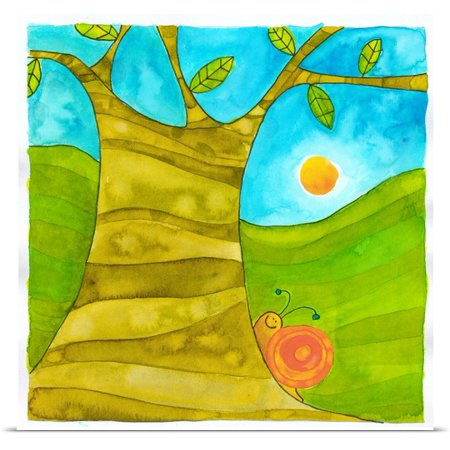 Great BIG Canvas Pablo Esteban Poster Print entitled Snail on a Tree