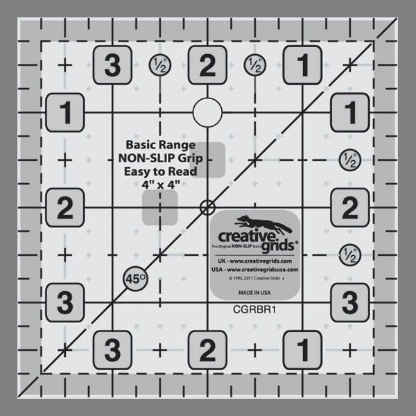 "Creative Grids Basic Range 4"" Square Ruler"