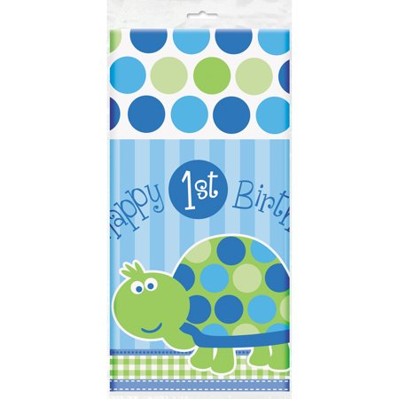 First Birthday Plastic Table Cover ((3 Pack) Plastic Turtle 1st Birthday Table Cover, 84