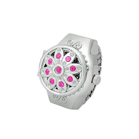 Arabic Number Amaranth Pink Rhinestone Alloy Ring Watch (Witches Ring)