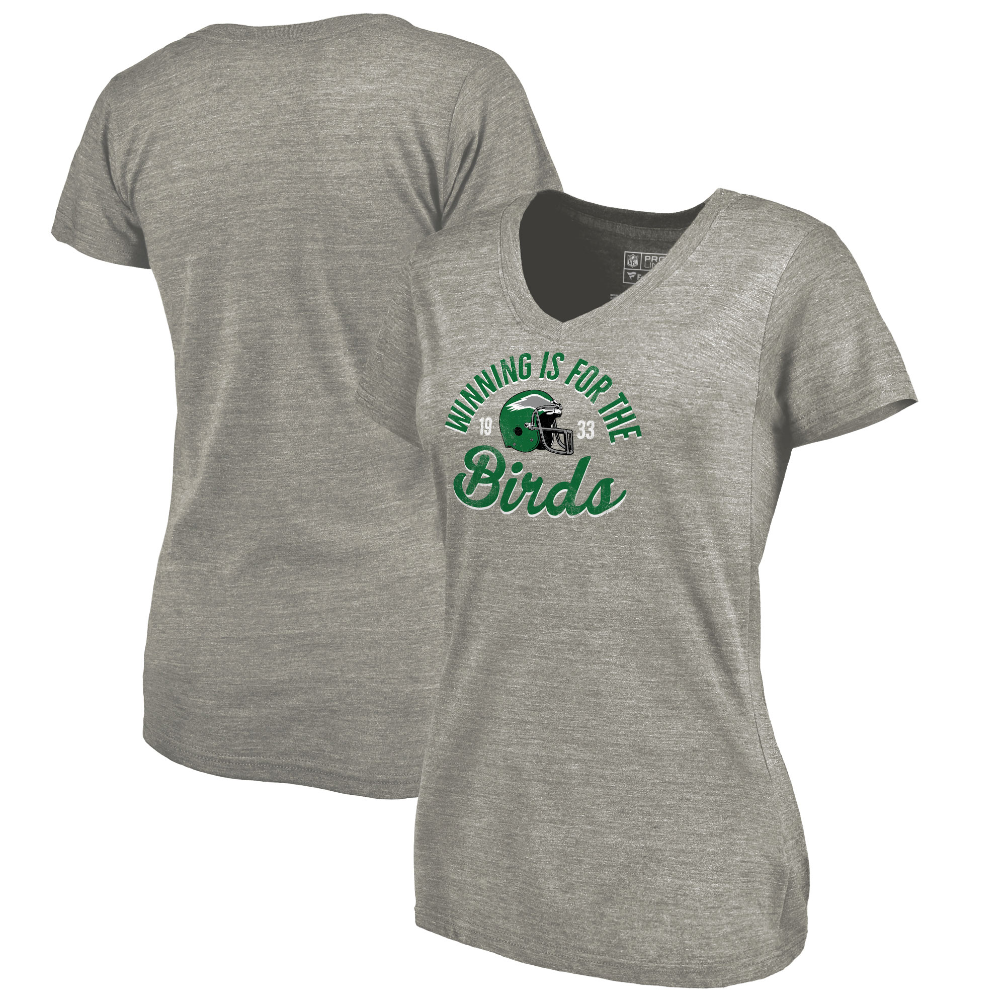 Philadelphia Eagles NFL Pro Line by Fanatics Branded Women's Hometown Collection Tri-Blend V-Neck T-Shirt - Heathered Gray