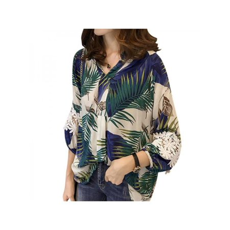Women V Neck Floral Printed Lace Stitching Crochet Loose Blouse Top