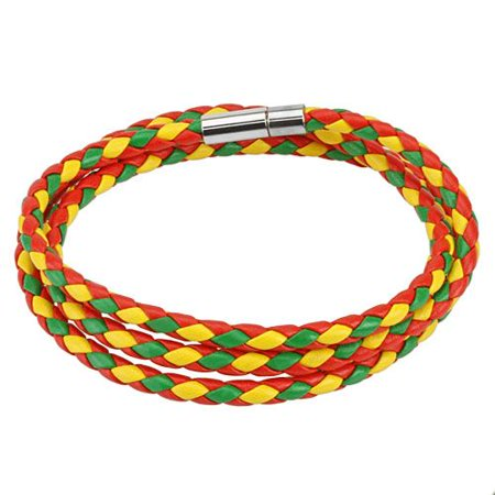 Rasta Fashion (Red, Green, and Yellow Multi Weaved Triple Wrap Bracelet with Snap On Closure)