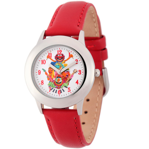 Disney Animal, Dr. Teeth, Floyd Pepper Boys' Stainless Steel Watch, Red Leather Strap
