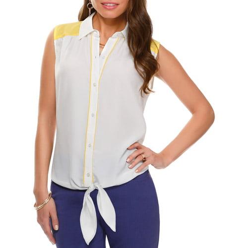 Miss Tina Women's Tie Front Sleeveless Shirt