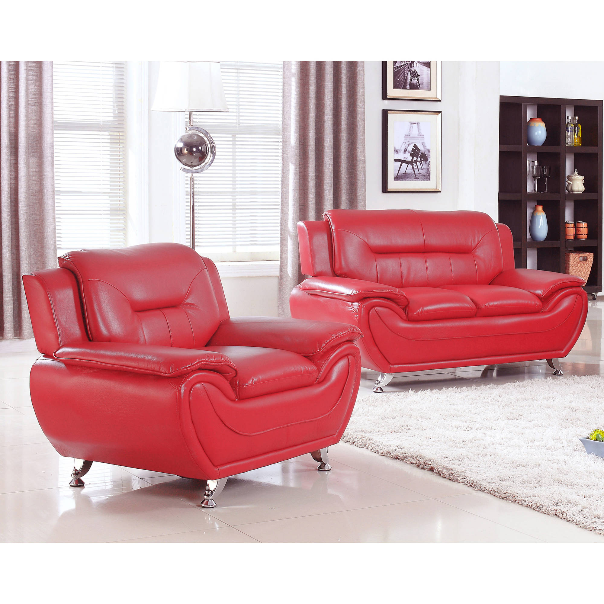 UFE Norton Red Faux Leather 2-Piece Modern Living Room Loveseat and Chair Set