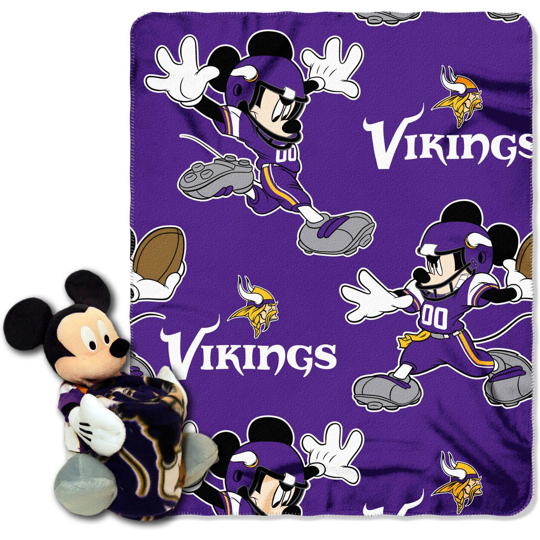 "Disney NFL Minnesota Vikings Hugger Pillow and 40"" x 50"" Throw Set"