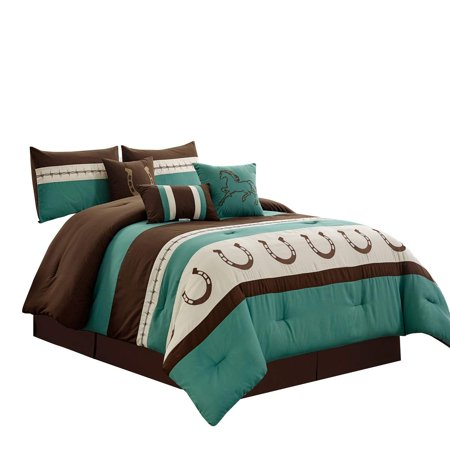 WPM WORLD PRODUCTS MART 7 Piece Rustic Comforter Set. Brown/Beige/Teal Horseshoe, Horse, Barb Wired Embroidered Bed in a Bag Western Cowboy Bedding Set- JENA (Teal, Queen)