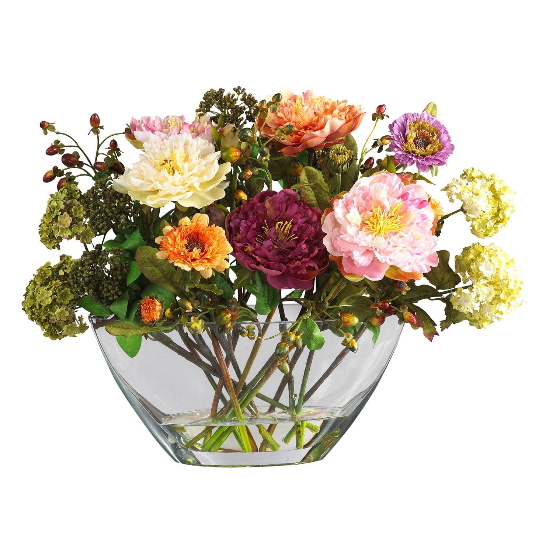Mixed Peony Wglass Vase Silk Flower Arrangement