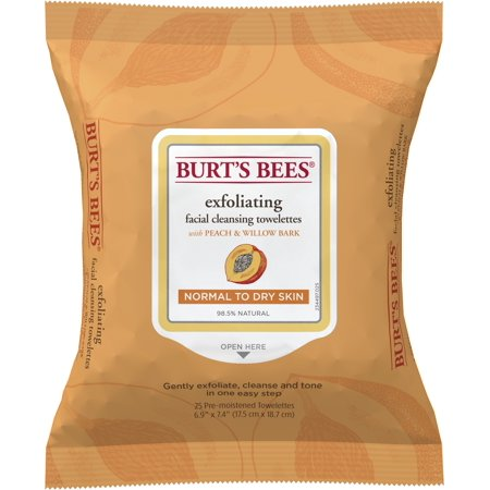 Burt's Bees Facial Cleansing Towelettes for Normal to Dry Skin, Peach and Willow Bark, 25 Count