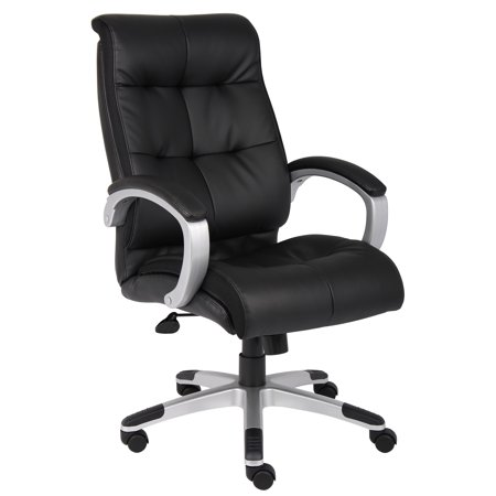 Boss Leather Chair - Boss Office & Home Double Plush Leather High-Back Executive Chair, Multiple Colors