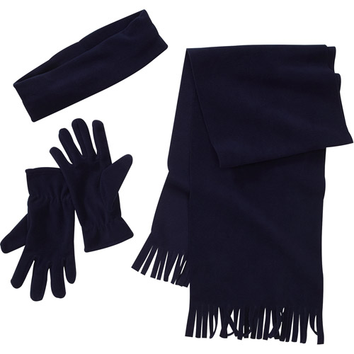 Women's 3-Piece Headband, Scarf and Gloves Fleece Gift Set