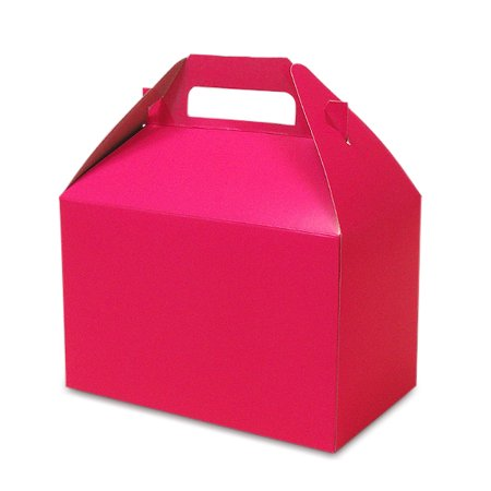 Hot Pink Gable Boxes 8 X 4-7/8 X 5-1/4 | Quantity: 10 Width 4 7/8 by Paper - Pink Gable Boxes