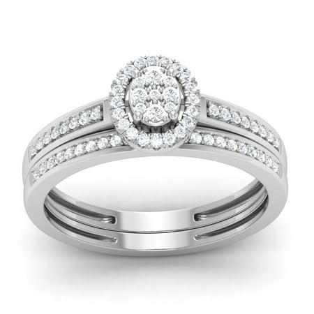 10K White Gold 1/4Ct Round Cut Diamond Double Halo Engagement Ring Set