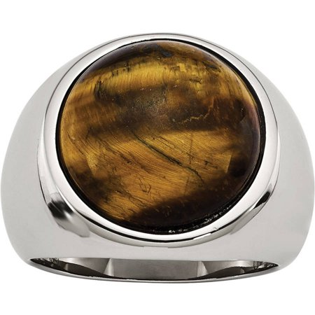 Primal Steel Stainless Steel Tiger's Eye Ring, Available in Multiple Sizes - Eye Rings