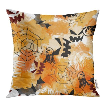CMFUN Halloween Spooky with Scary Faces Webs Ghosts Bats and Watercolor Effect Pillow Case Pillow Cover 18x18 inch Throw Pillow Covers (Halloween Photo Effect)