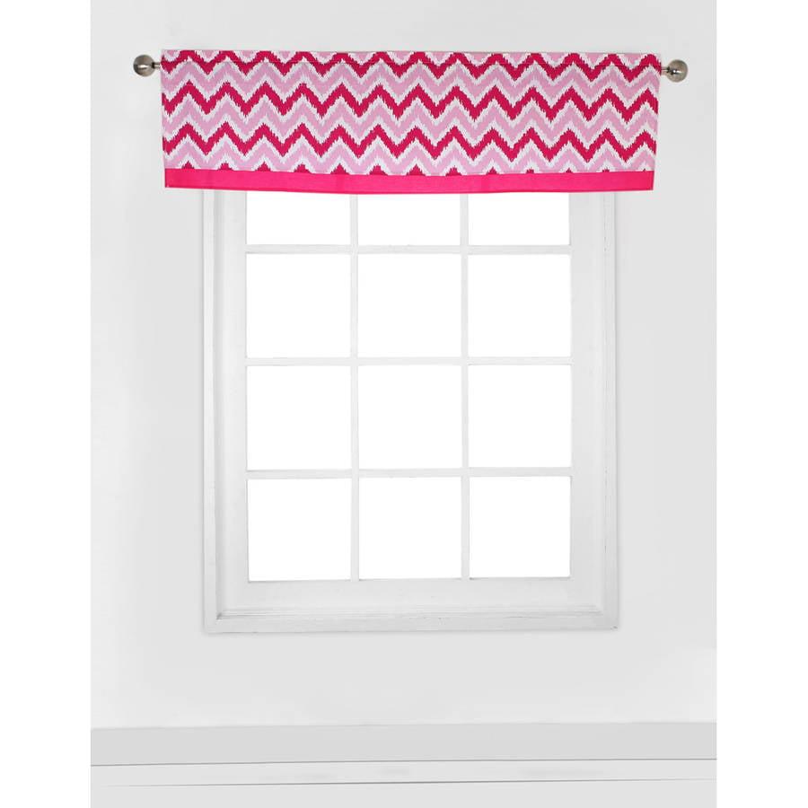"""Bacati - MixNMatch Zigzag Window Valance 15""""x54"""" 100% Cotton Percale Fabrics, Pink"""