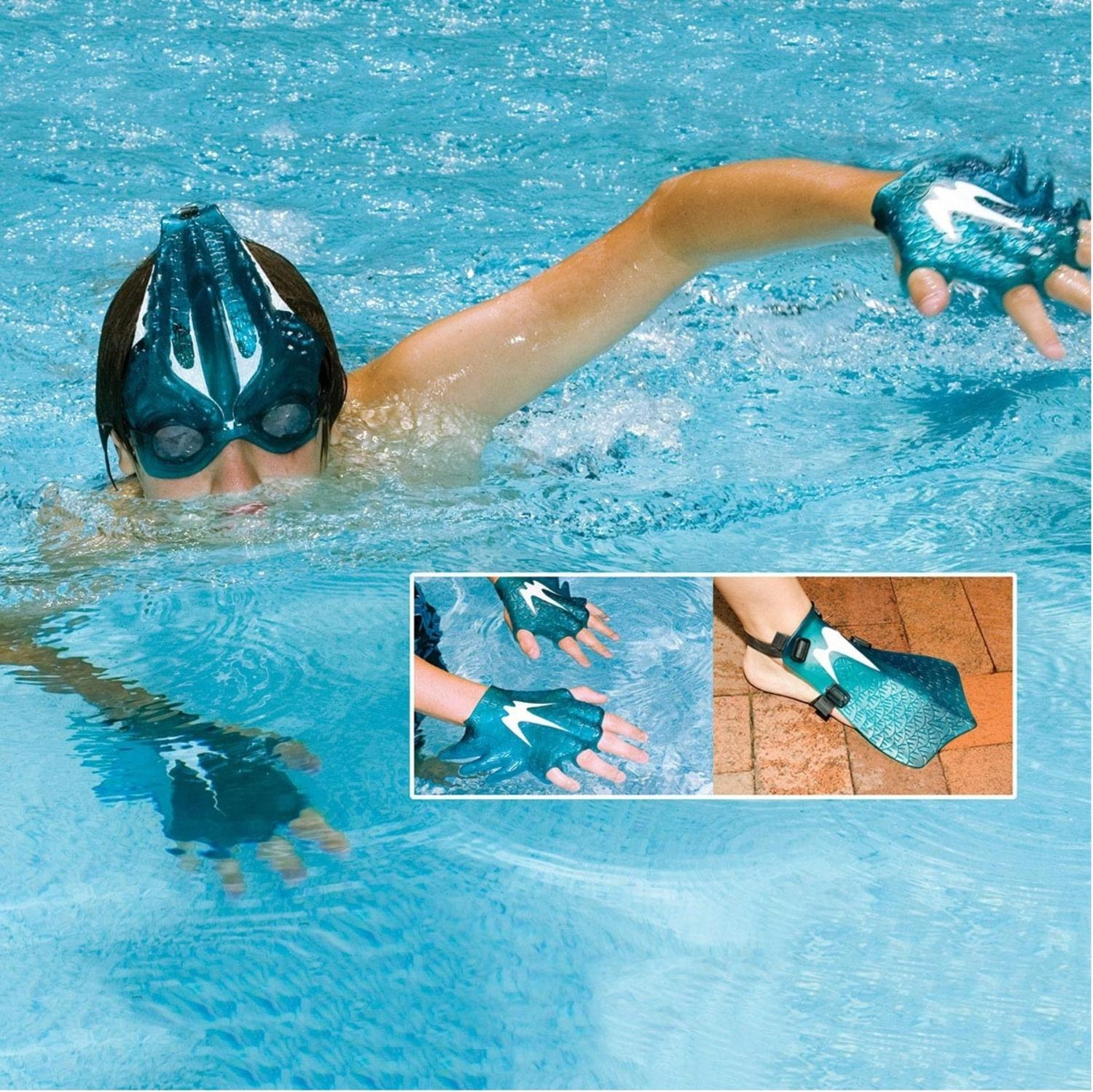 The Sea Creature Swim Set Goggles and Swim Fins for Hands and Feet by Swim Central
