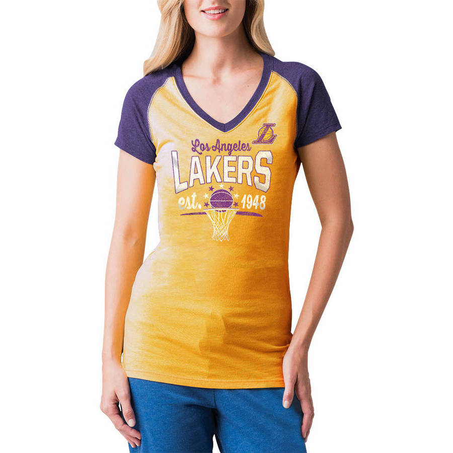 NBA Los Angeles Lakers Women's Short Sleeve Raglan V Neck Tee