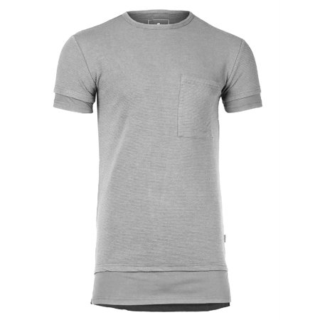 FashionOutfit Men's Solid Relaxed Fit Longline Ribbed Short Sleeve Crewneck T-shirt Top (Ribbed Crewneck Logo Top)