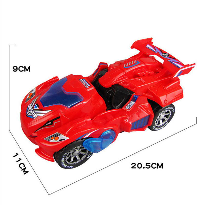 CW/_ Transforming Dinosaur LED Car Toys With Light Sound Xmas Kids Electric Toy G