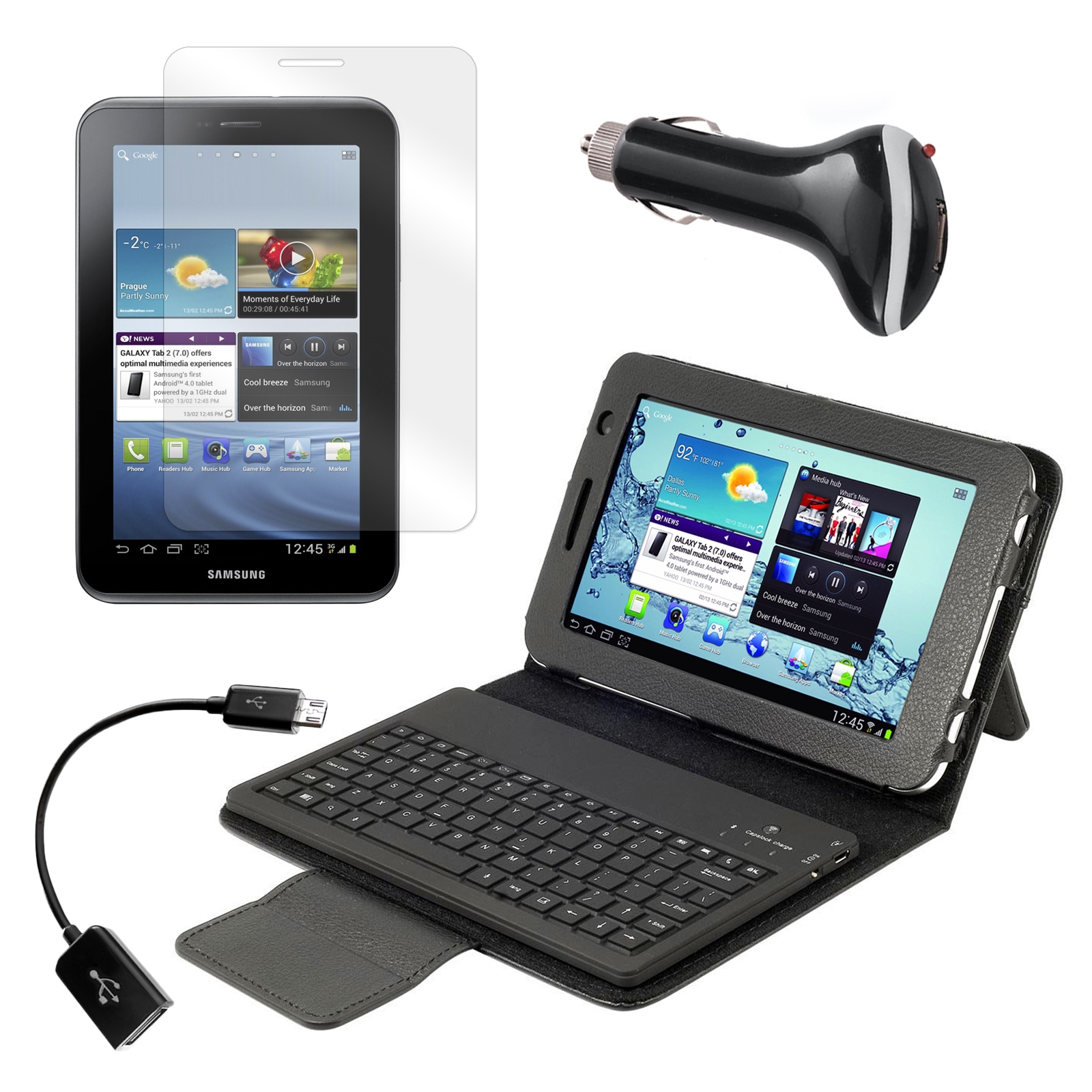 "Bluetooth Keyboard Folio with Screen Protector, OTG Cable, and Car Charger for Samsung Galaxy Tab 2 7"" Tablet"