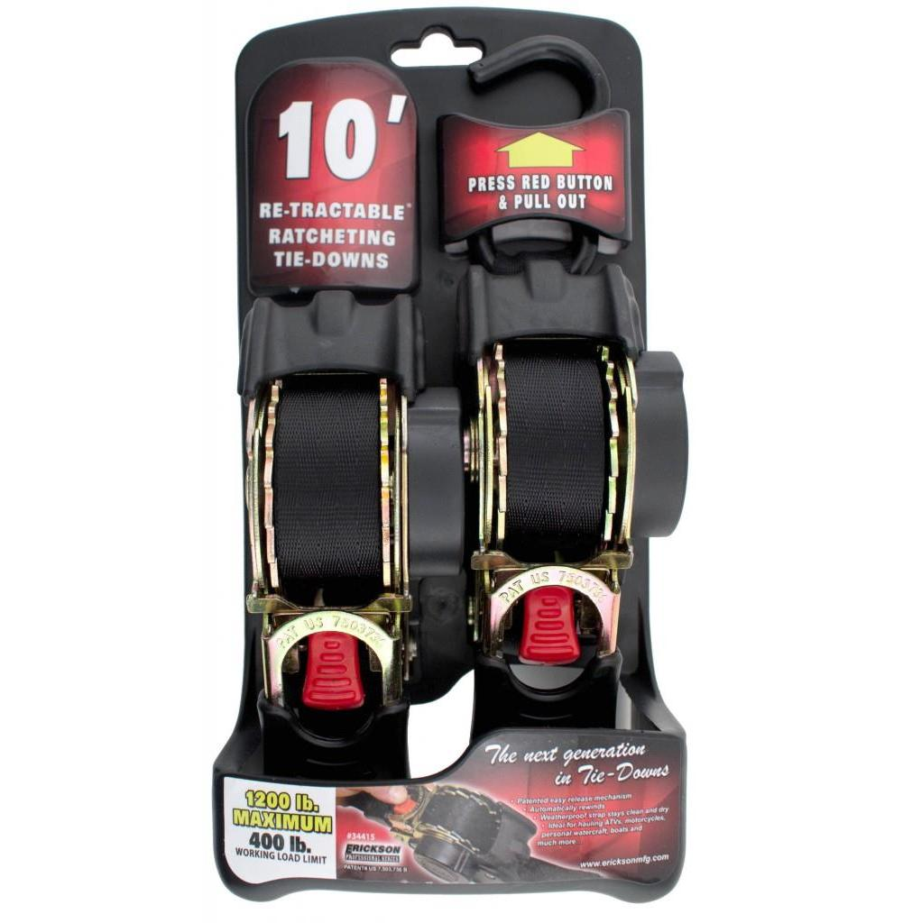 Erickson 54415 Re-Tractable Tie-Down Straps - 1in. x 10ft. - Black