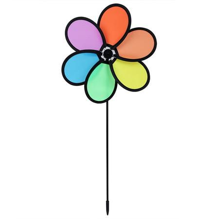 Sonew DIY  Multicolor Flower Windmill Pinwheel Whirligig Garden Windmill Plastic Toy Classic Children, Whirligig, Garden Windmill - image 5 of 11