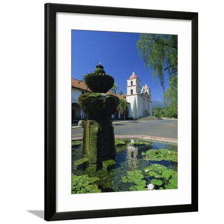 Fountain with Water Lilies, the Mission in the Background, Santa Barbara, California, USA Framed Print Wall Art By Tomlinson Ruth