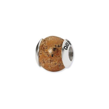 Picasso Jasper Pendant Bead (Picture Jasper Stone Bead & Sterling Silver Charm, 10mm)