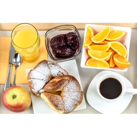Jam Tray - Peel-n-Stick Poster of Jam Coffee Continental Breakfast Hotel Tray Poster 24x16 Adhesive Sticker Poster Print