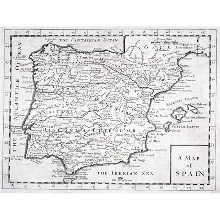 Map 24 Spain.Posterazzi Dpi1861623 19th Century Map Showing Provinces Cities Of