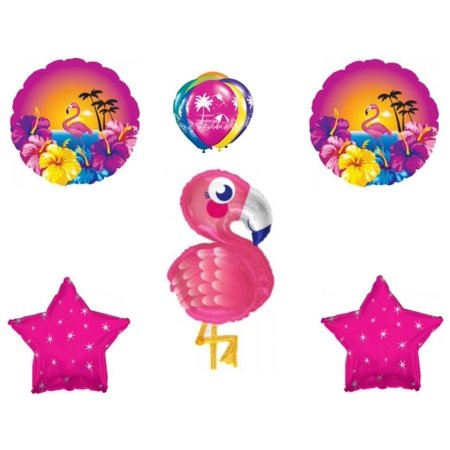 NEW! Pink Flamingo Tropical Birthday Shower Party Balloons Decoration Hibiscus (Pink Hibiscus)