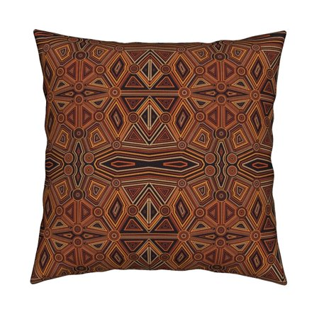 Australian Brown Abstract Throw Pillow Cover w Optional Insert by Roostery