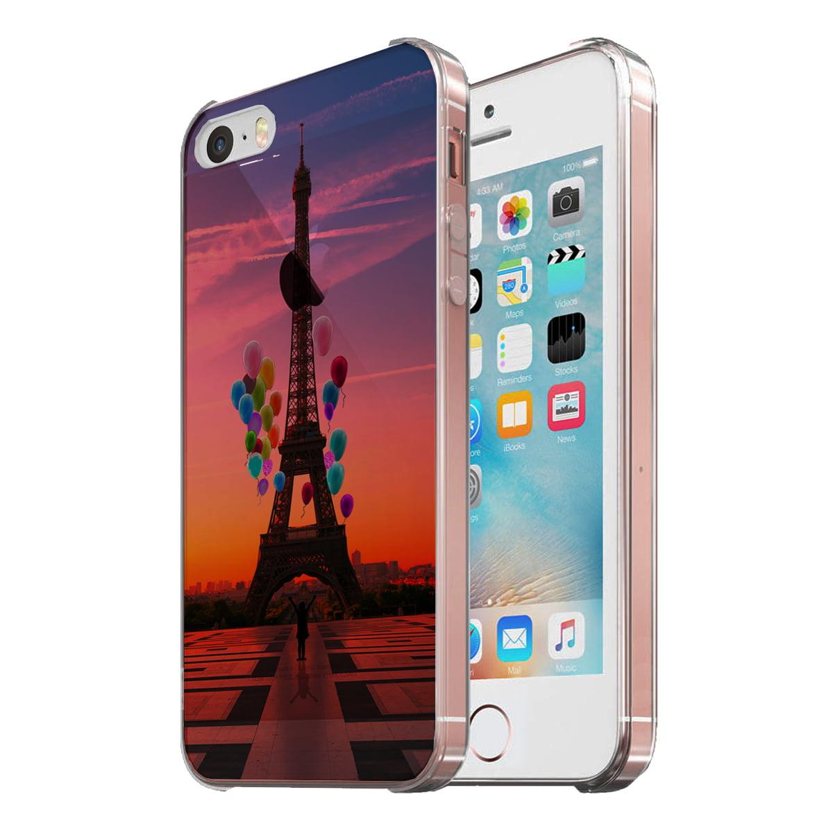 KuzmarK Clear Cover Case fits iPhone SE & iPhone 5 - Paris Eiffel Tower Balloons