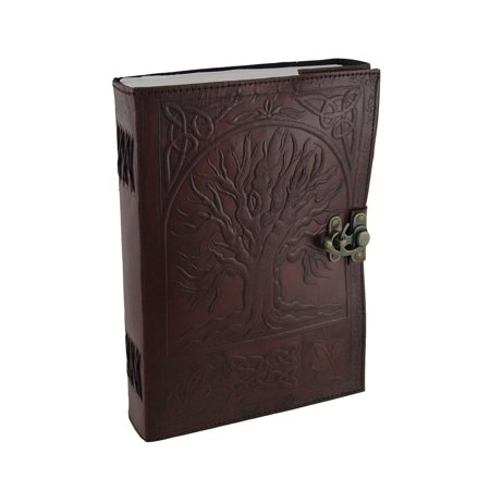 Large Embossed Leather Celtic Tree Of Life 184 Leaf Diary Journal with (Embossed Flower Leather Journal)