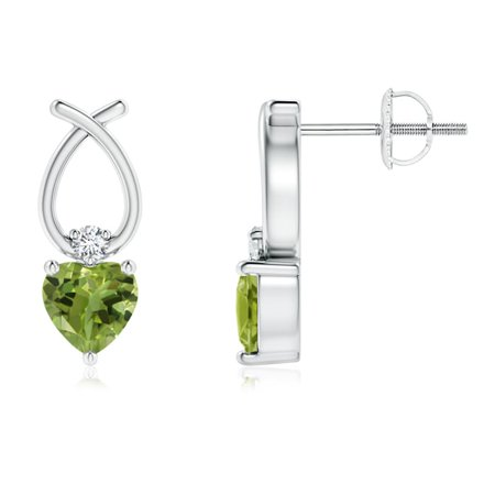 August Birthstone Earrings - Heart Shaped Peridot Ribbon Earrings with Diamond in 14K White Gold (4mm Peridot) - SE0964PD-WG-AA-4 14k Gold Ribbon Earrings