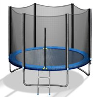 Kids Trampoline With Safety Enclosure Net And Ladder, 10x10x8.4ft 661lbs Load Outdoor Recreational Trampoline With Waterproof Jump Pad For Outdoor Toddler Trampolines, Black