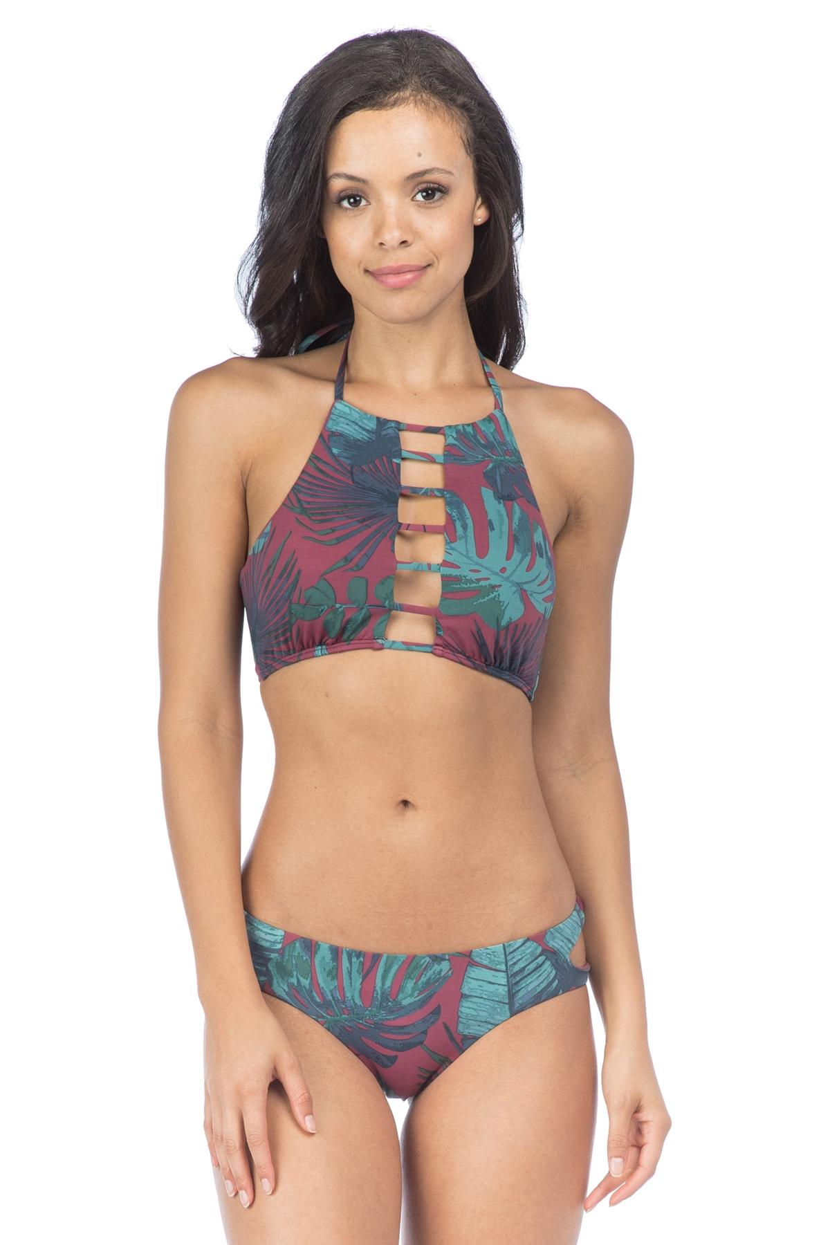 Bikini Lab Juniors Fronds High Neck Halter Swim Top