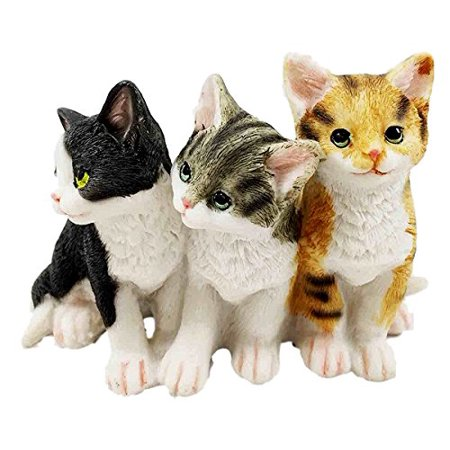 Duck Decoy Figurine (Feline Cat Three Kittens Black Yellow and Grey Kitty Cats Figurine Animal Decor )