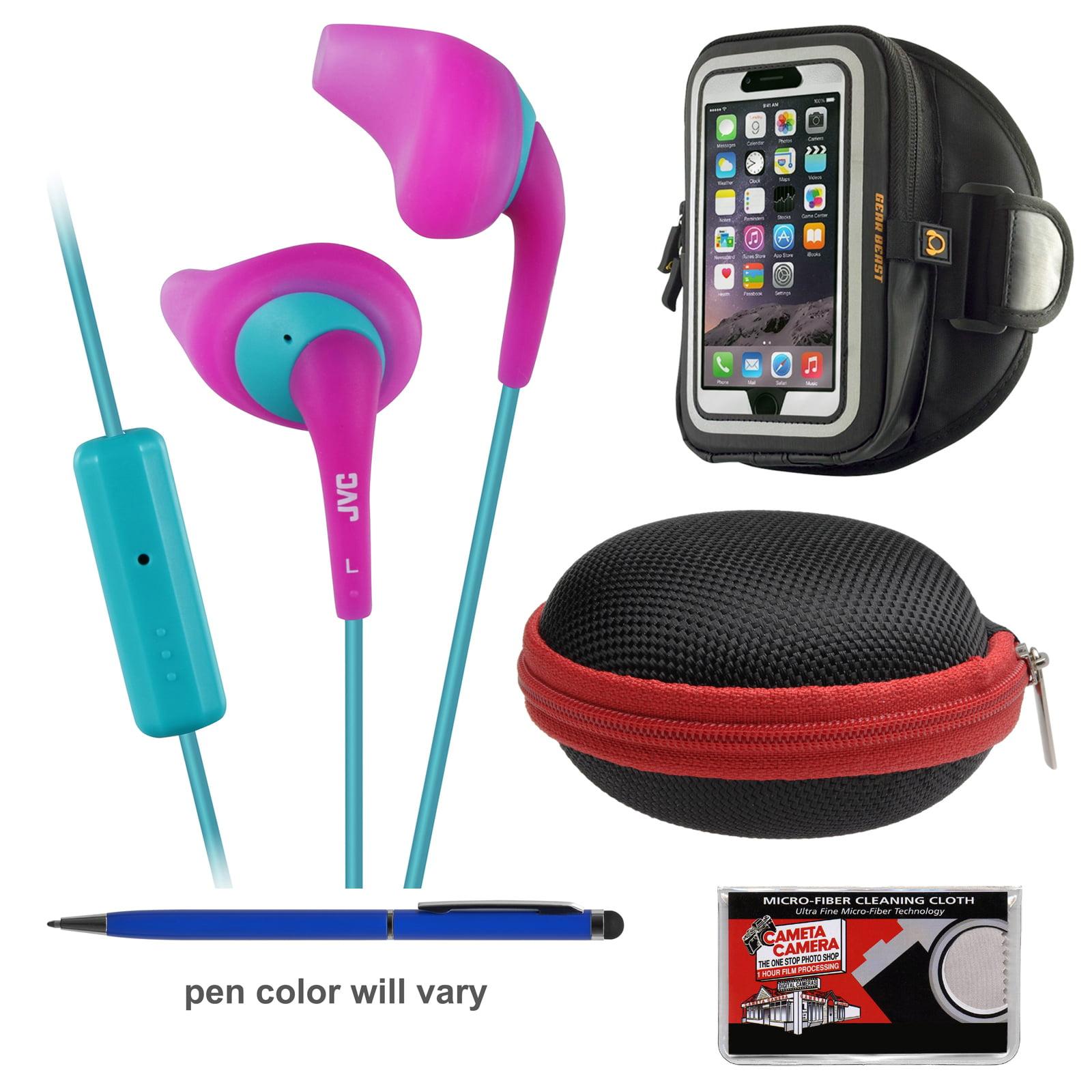 JVC HA-ENR15 Gumy Sport Headphones with Remote & Mic (Black) + Hard Case + Smartphone Sport Armband + Kit