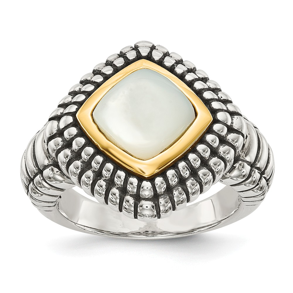 Sterling Silver w/ 14K Gold Mother of Pearl Vintage Ring
