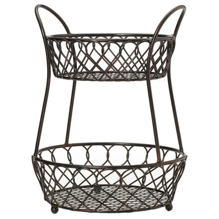 Gourmet Basics by Mikasa Gourmet Basic By Mikasa Black Antique-finished Metal Loop And Lattice 2-tier -